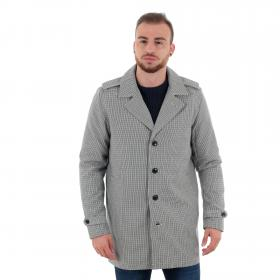 Jack & Jones Abrigo Marrón 12152575 JPRDAVE CHECK TRENCHCOAT DARK SLATE