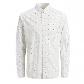 Jack&Jones Camisa Blanco 12162454 JCOAOP SHIRT LS PLAN WHITE SLIM