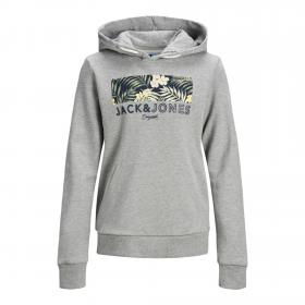JACK&JONES Sudadera Gris claro 12167785 JORTROPIC SWEAT HOOD JR LIGHT GREY MELANGE