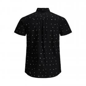JACK&JONES Camisa Negro 12171167 PTKDEK FIGURATIVE MINI AOP SHIRT SS HE BLACK