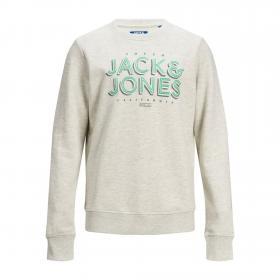 JACK&JONES Sudadera Gris claro 12171736 JORVENICEBEACH SWEAT CREW NECK JR WHITE MELANGE