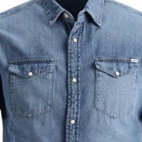 JACK&JONES Camisa Azul 12159371 JJESHERIDAN SHIRT S/S STS Medium Blue Denim
