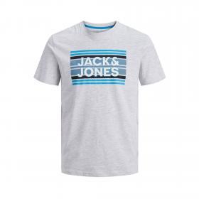 JACK&JONES Camiseta slim Gris claro 12171741 JCOSIGN TEE SS CREW NECK JR WHITE MELANGE