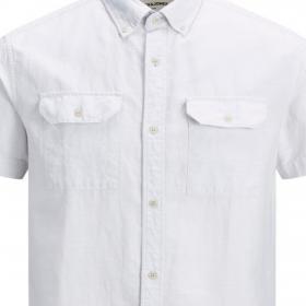JACK&JONES Camisa Gris claro 12171417 JCOFRED LINEN SHIRT SS WORKER ANTARCTICA