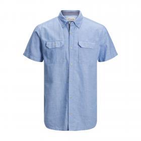 JACK&JONES Camisa Azul claro 12171417 JCOFRED LINEN SHIRT SS WORKER Dusk Blue