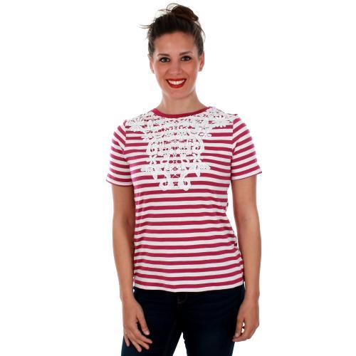 Vero Moda Camiseta Fucsia 10210416 VMMONA SS TOP STRIPE FUSHIA