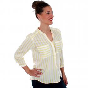 Vero Moda Camisa Amarillo 10188642 VMERIKA STRIPE 3/4 SHIRT E10 COLOR SNOW WHITE YARROW