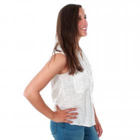 Vero Moda Camisa Blanco 10211569 VMERIKA SL SHIRT AOP COLOR SNOW WHITE BLACK DOT