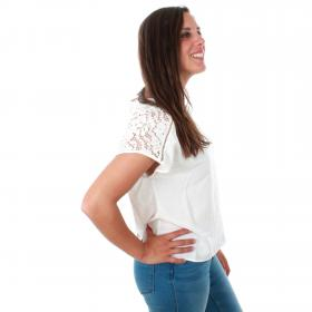 Vero Moda Camiseta Blanco 10213128 VMCILLE BOCA SS TOP WVN SNOW WHITE