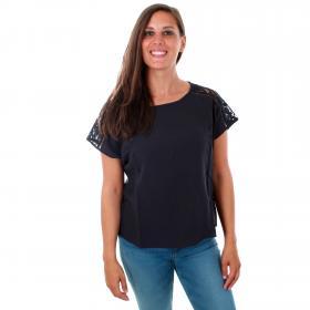 Vero Moda Camiseta Azul marino 10213128 VMCILLE BOCA SS TOP WVN NIGHT SKY