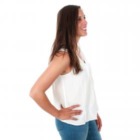 Vero Moda Camiseta Blanco 10200300 VMEVA V-NECK SL TOP EXP NOOS SNOW WHITE