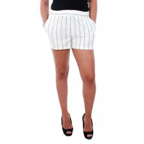 Vero Moda Shorts Blanco 10210199 VMANNA MILO SHORT SHORTS STRIPE NOOS SNOW WHITE NIGHT SKY