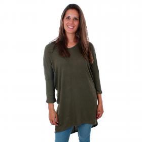Vero Moda Jersey Verde 10212462 VMPAYA V-NECK LONG TOP JRS IVY GREEN SOLID