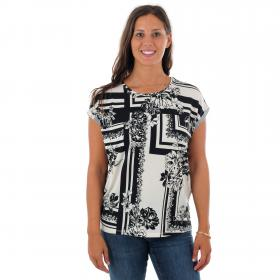 Vero Moda Camiseta Blanco 10220953 VMAVA PLAIN SS TOP GA MIMI AOP BIRCH MIMI AOP