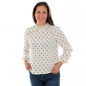 Vero Moda Camisa Beige 10220967 VMSINE LS SMOCK TOP WVN BF BIRCH HALLY