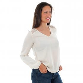 Vero Moda Camiseta Beige 10220784 VMSANDRA LACE LS V-NECK TOP WVN BF BIRCH