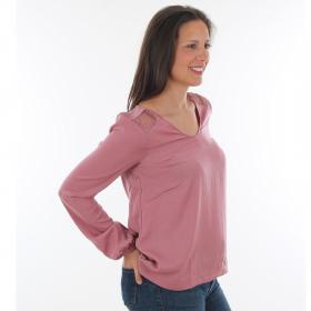 Vero Moda Camiseta Rosa 10220784 VMSANDRA LACE LS V-NECK TOP WVN BF MESA ROSE