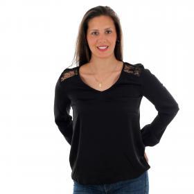Vero Moda Camiseta Negro 10220784 VMSANDRA LACE LS V-NECK TOP WVN BF BLACK
